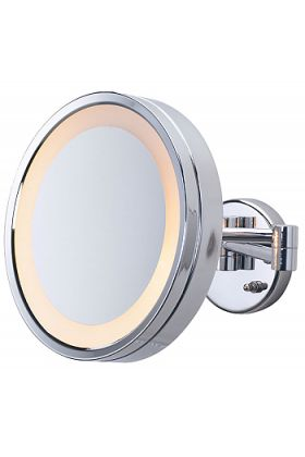 Jerdon Large Round 3x Halo-Lighted Wall-Mount Plug-in Makeup Mirror