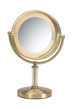Jerdon 6x/1x Brushed Brass or Nickel Reversible Halo-Lighted Makeup Mirror