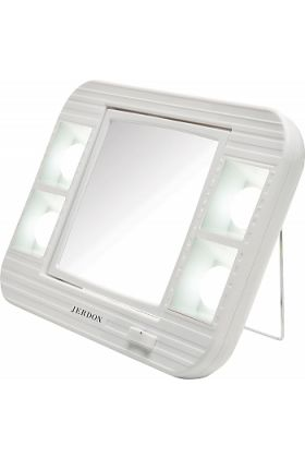 Jerdon Lighted 5x/1x LED Home and Travel Vanity Make Up Mirror