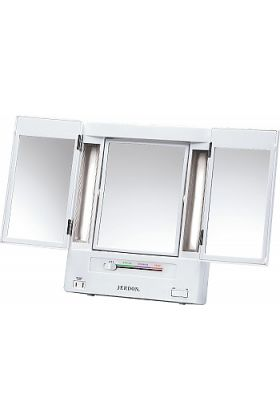 Jerdon 5x/1x Reversible Tri-Fold Fluorescent Lighted Makeup Vanity Mirror with 4 Light Settings