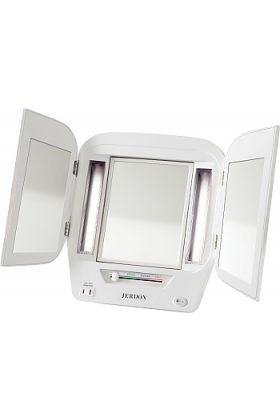 Jerdon Euro Style Tri-Fold 5x/1x Lighted Vanity Make Up Mirror - 4 Color Settings