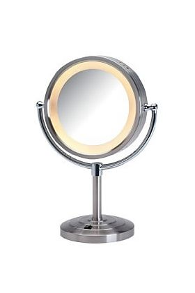 Jerdon 5x/1x LED Halo-Lighted Tiered-Base Free Standing Makeup Mirror