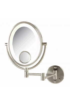Jerdon 10x/1xReversible Plug-In LED Make Up Mirror with 15x Spot Mirror - Satin Nickel Finish
