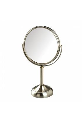 Jerdon 10x/1x Reversible, Beaded Stand Vanity Makeup Mirror, 3 Finishes