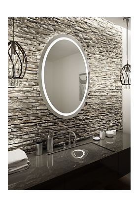 Aamsco Saturn Oval Backlit Mirror is Illuminated by an Inerior LED Border
