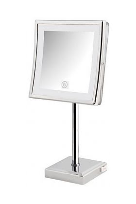 "Jerdon 5x LED 8.5"" Square LED Makeup Mirror with Brass Construction has Touch Controls"