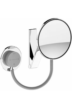 KEUCO 5x Round 2,700k-6,500k LED Coiled Cord Hardwired Makeup Mirror, LED Control Panel