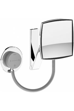KEUCO 5x Square 2,700k-6,500k LED Coiled Cord Hardwired Makeup Mirror, LED Control Panel