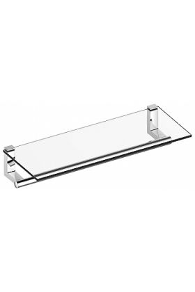 Keuco Plan Towel Rack with Tempered Glass Shelf, Polished Chrome or Stainless Steel