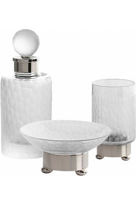 Cristal&Bronze Nid d'abeilles (Honeycomb) Soap Dish, Tumbler, and Perfume Bottle- 27 Finishes
