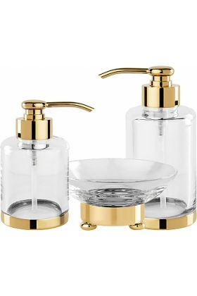 """Cristal&Bronze Cristallin """"lisse"""" Soap Dispensers and Soap Dish, each in 27 Finishes"""