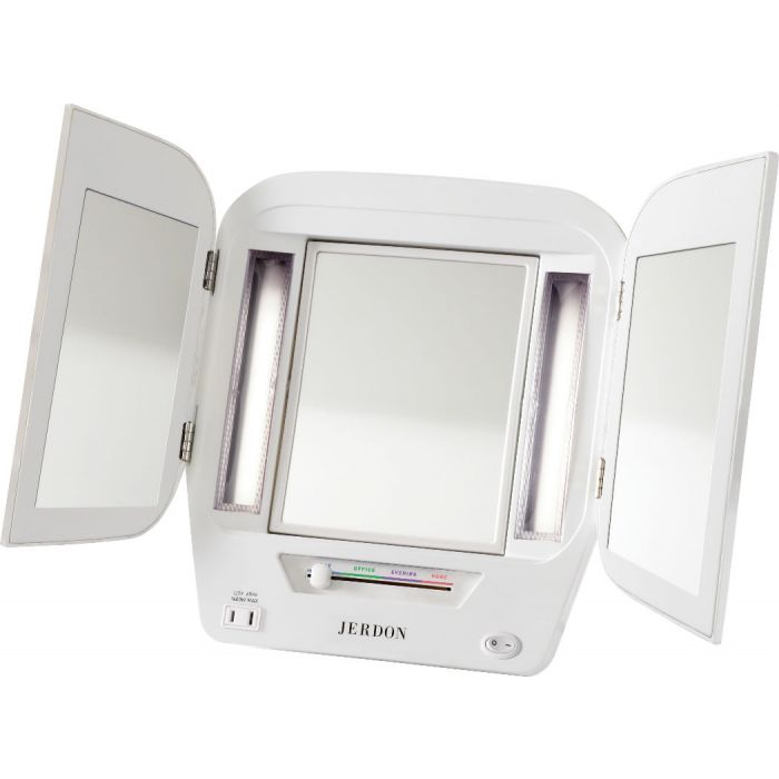 Jerdon Euro Style Tri-Fold 5x/1x Lighted Vanity Mirror - 4 Color Settings