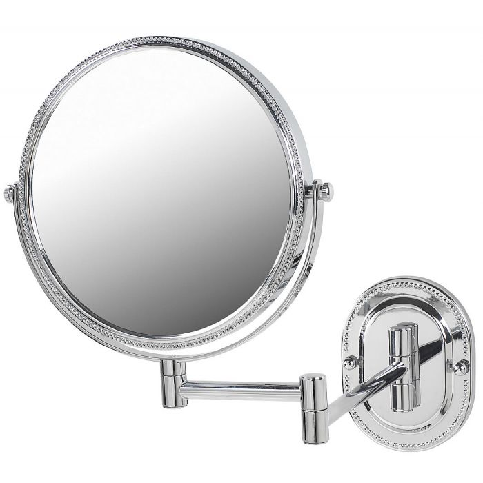 Jerdon Beaded Reversible 7x/1x Wall-Mount Makeup Mirror
