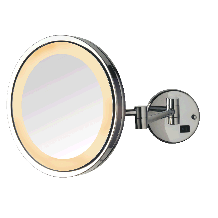 Jerdon LED Halo Lighted Plug-In Wall Mirror, 5X, Chrome Finish