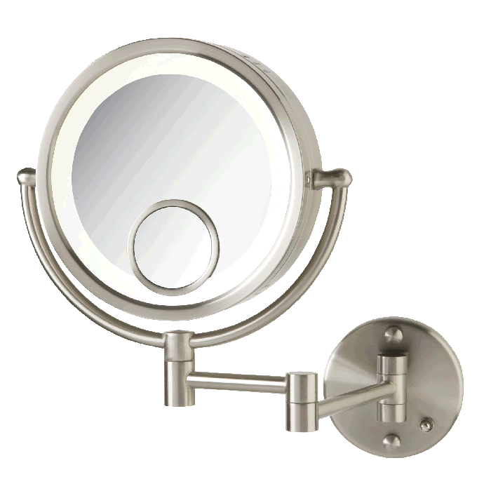 Lighted 7x/1x Plug-In Makeup Mirror with 15x Spot Mirror by Jerdon Style