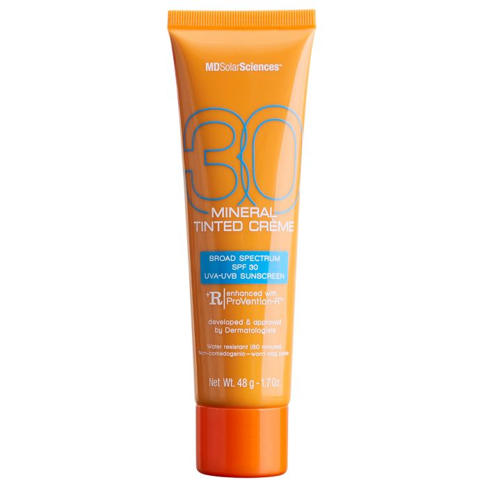 MDSolarSciences Mineral Tinted Creme SPF 30 is a Broad Spectrum UVA-UVB Facial Sunscreen