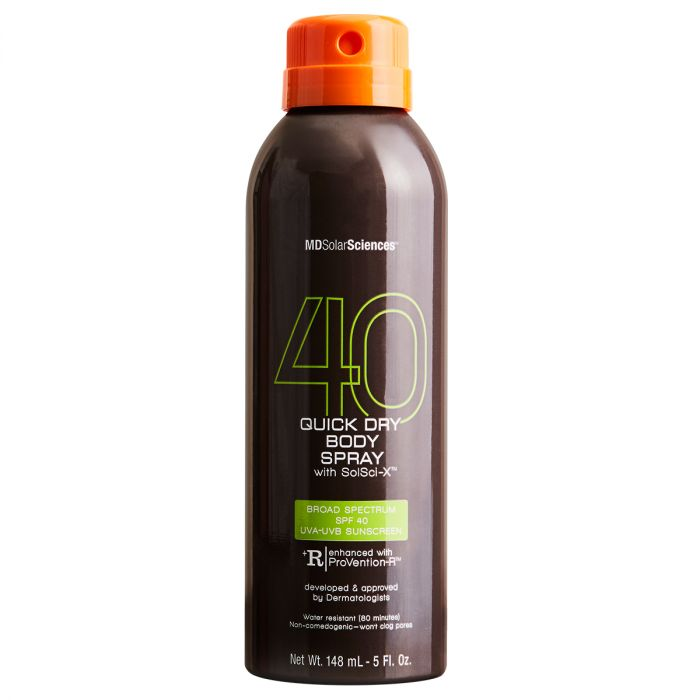 MDSolarSciences SPF 40 Quick Dry Body Spray is Broad Spectrum, Quick Drying, and Non-Greasy