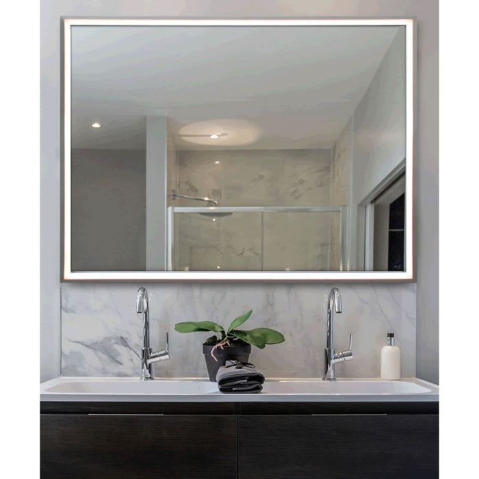 Electric Mirror Radiance Silver-Framed LED Backlit Mirror with Thin Elegant Lighted Border - 4 Sizes