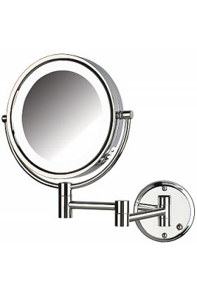 Jerdon Style Reversible 8x/1x LED-Lighted Hardwired Makeup Mirror - 2 Finishes