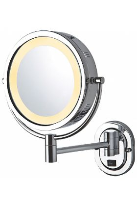 Jerdon Style Hardwired Reversible 5x/1x Wall-Mounted Makeup Mirror, Polished Chrome or Satin Nickel