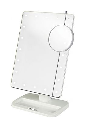 Jerdon Style Battery Operated LED Vanity Mirror with 10x Adjustable Spot Mirror