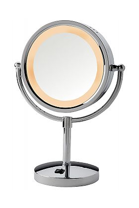 Jerdon Style 5x/1x LED Halo-Lighted Polished-Base Vanity Mirror with AC Outlet