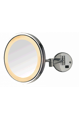 Jerdon Style LED Halo Lighted Plug-In Wall Mirror, 5X, Chrome Finish