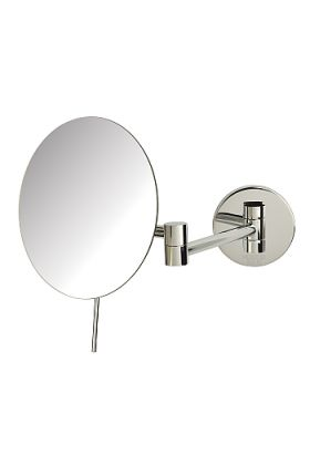 Sharper Image Frameless 5x Wall-Mount Makeup Mirror - Chrome or Nickel