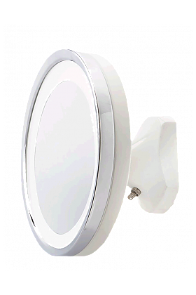 Jerdon Style Close-to-the-Wall Hardwired 5x LED Makeup Mirror in Polished Chrome