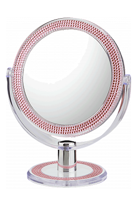 CLOSEOUT!  10x/1x First Impressions Pink Bling Vanity Mirror