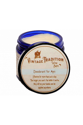 Deodorant Tallow Balm for Men, by Vintage Tradition - 2 oz.