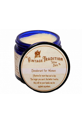 Deodorant Tallow Balm for Women, by Vintage Tradition - 2 oz.