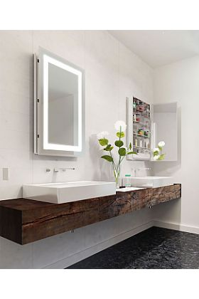Electric Mirror Ambiance Mirrored Cabinet with LED Back-Lighted Frame, 2 Sizes, Hinged Left or Right